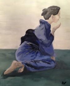 J'aime la zenitude de cette femme représentée dans ma dernière peinture !